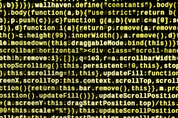 Código javascript en el editor de texto. codificando el concepto del ciberespacio. pantalla de desarrollo de código web.