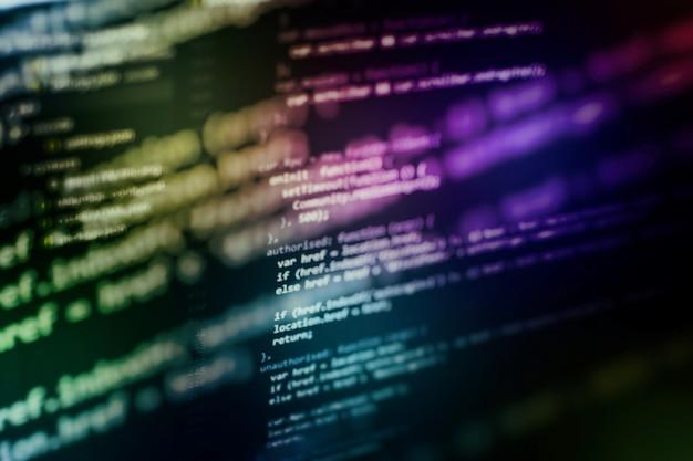 Código de programación del desarrollador. código de secuencia de comandos de computadora abstracta. pantalla de código de programación del desarrollador de software. tiempo de trabajo de programación de software.