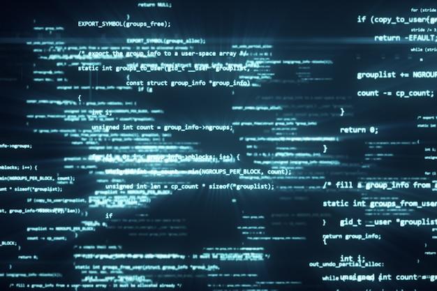 El código de programación funciona a través de la ilustración 3d del terminal de pantalla de la computadora