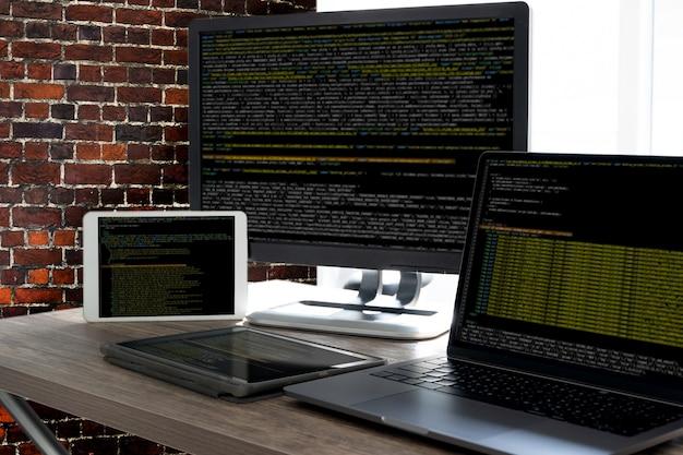 Código de programación resumen de antecedentes tecnológicos programación de desarrolladores y tecnología de codificación desarrollador de software y script de computadora