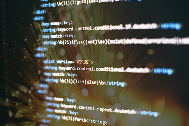 Código de secuencia de comandos de computadora abstracta. pantalla de código de programación del desarrollador de software. tiempo de trabajo de programación de software.