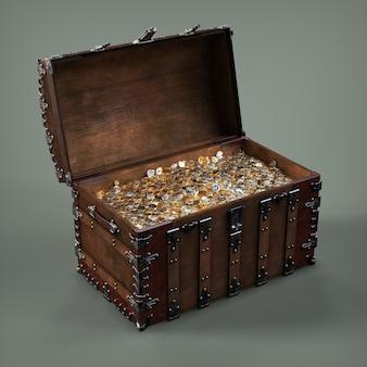 Cofre de monedas de oro. ilustración 3d