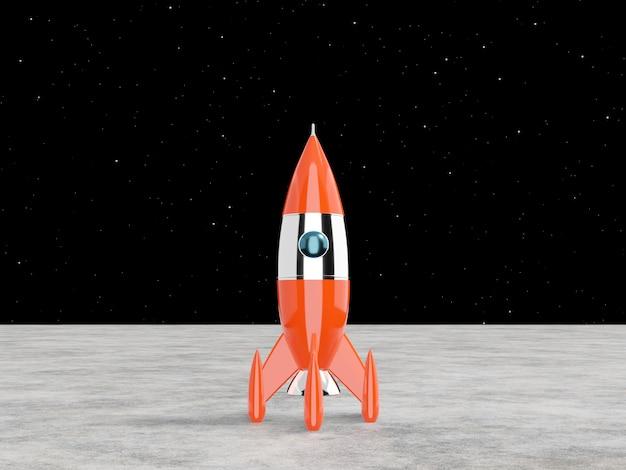 Cohete espacial: un concepto de éxito, liderazgo, puesta en marcha. representación 3d