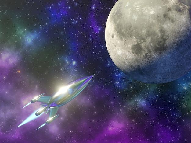El cohete espacial vuela a la luna en el fondo de un hermoso cielo estrellado 3d rendering