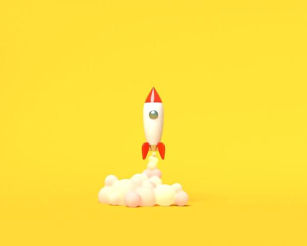 Cohete de juguete despega de los libros arrojando humo sobre un fondo amarillo