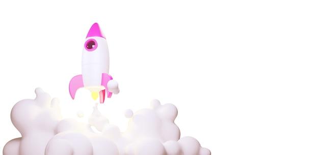 Cohete de juguete despega de los libros arrojando humo sobre un fondo azul. símbolo del deseo de educación y conocimiento. ilustración de la escuela. representación 3d