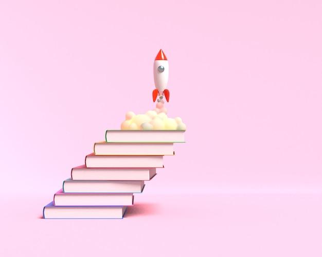 Cohete de juguete despega de los libros arrojando humo sobre un fondo rosa