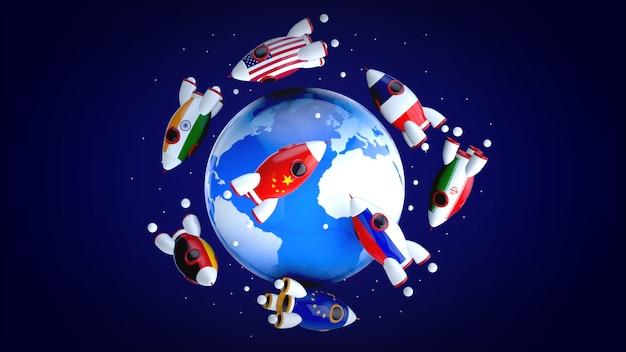 Cohetes alrededor del mundo - ilustración 3d