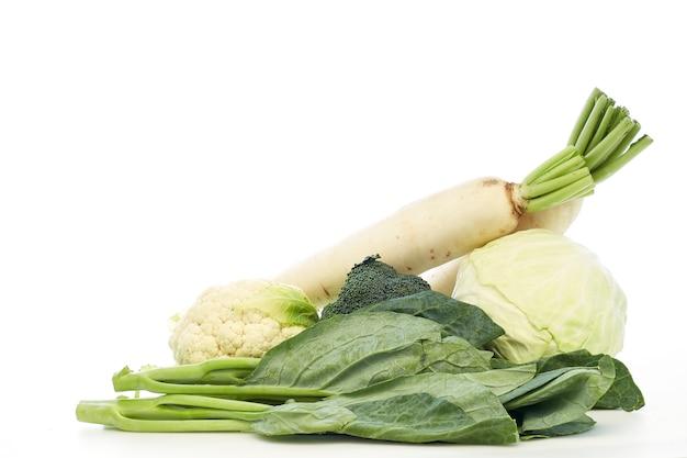 Col rizada china, col, brócoli, coliflor, rábano