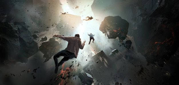 Colapso mundial, escena apocalíptica, pintura digital.