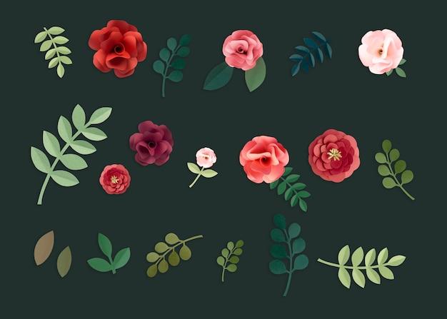 Colección artesanal de rosas en papel artesanal.