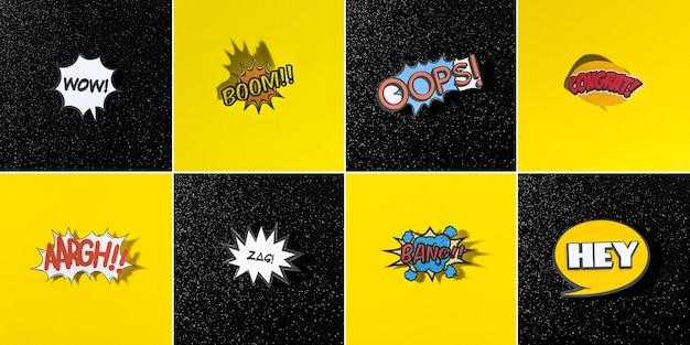 Colección de burbujas de chat de estilo cómico para diferentes palabras sobre fondo negro y amarillo
