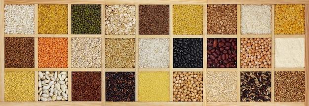 Colección de cereales crudos, frijoles y semillas.