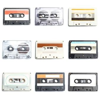 Colección de cintas de audio retro.