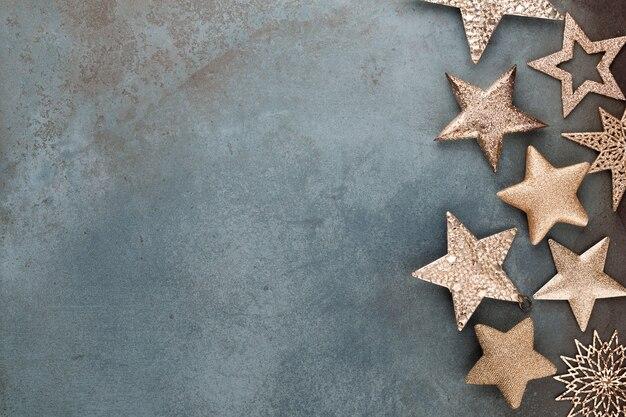 Colección de decoraciones de estrellas navideñas para maquetas de diseño