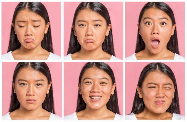 Colección de emociones y expresiones faciales.