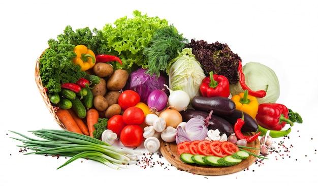 Colección de frutas y verduras aisladas