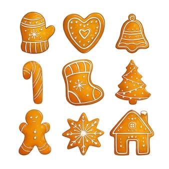 Colección de galletas de jengibre dulces navideños