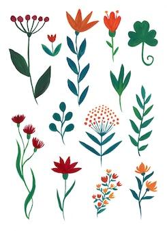Colección de gouache floral.