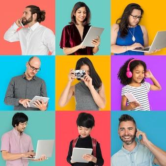 Colección de personas utilizando dispositivo digital collage.