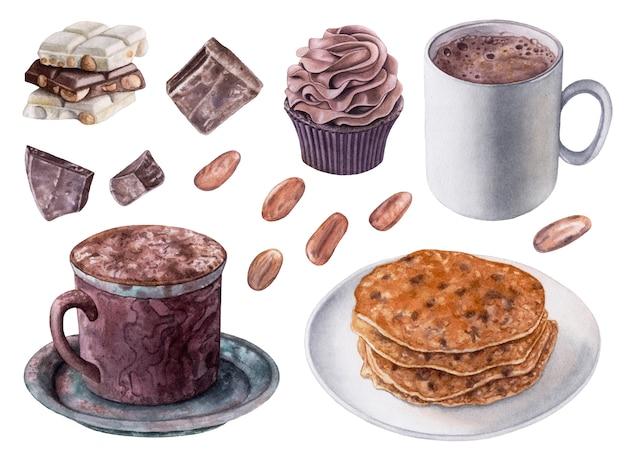 Colección de postres de acuarela. panqueques, cacao, chocolate, magdalenas.