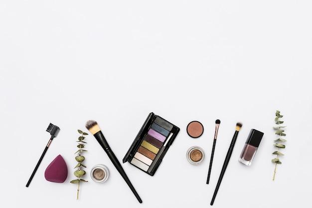 Colección de productos de belleza cosmética con pinceles y ramitas sobre fondo blanco