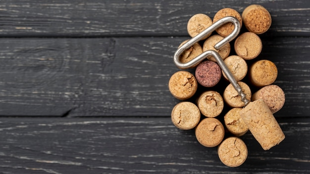 Colección de sacacorchos y tapones de vino