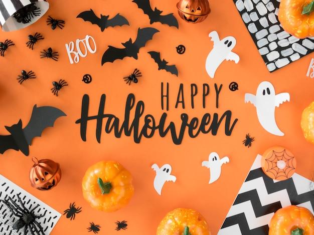 Colección de vista superior de elementos de halloween