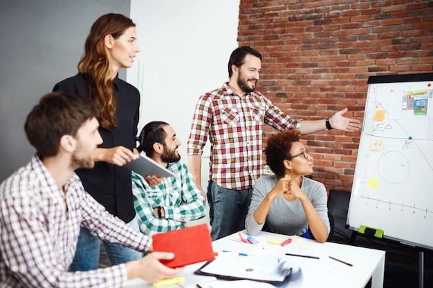 Colegas discutiendo nuevas ideas en la reunión de negocios.