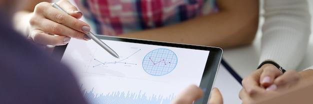 Los colegas miran las cifras de ventas en la tableta.
