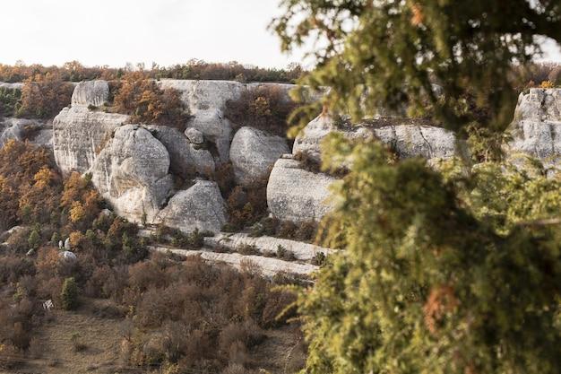 Colinas de roca blanca y árboles verdes.