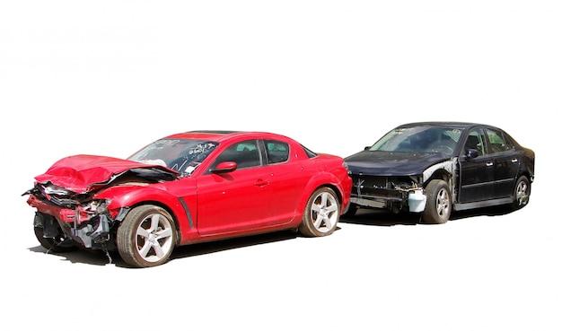 Colisión de automóviles en blanco
