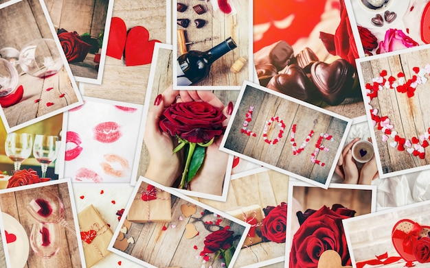 Collage de amor y romance. enfoque selectivo