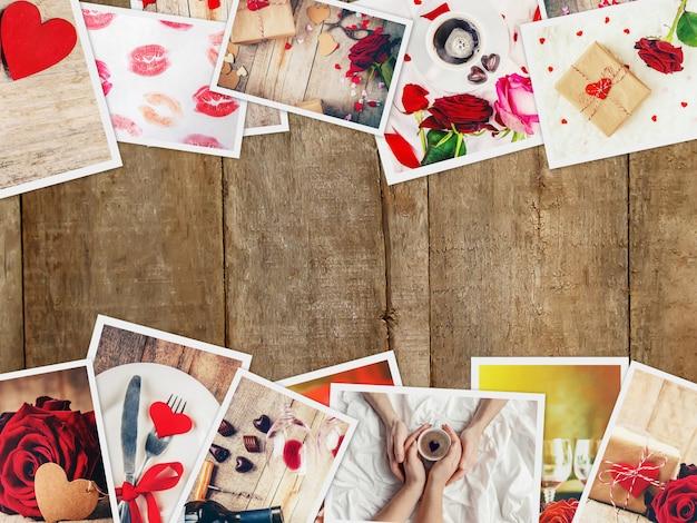 Collage de amor y romance. enfoque selectivo