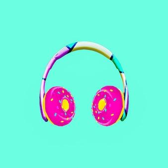 Collage de arte contemporáneo. auriculares donuts. proyecto mínimo de comida rápida