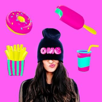 Collage de arte contemporáneo. concepto mínimo. concepto de dieta y niñas. amante de la comida rápida