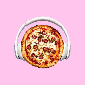 Collage de arte contemporáneo. pizza dj. proyecto mínimo de comida rápida