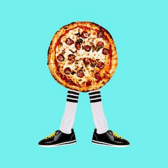 Collage de arte contemporáneo. pizza hipster mood. proyecto mínimo de comida rápida