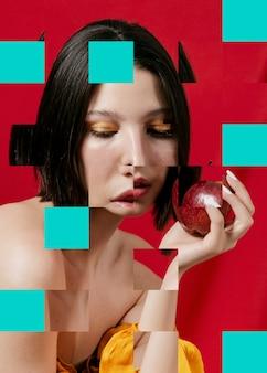Collage con bella mujer