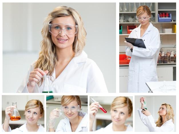 Collage de un científico femenino haciendo experimentos