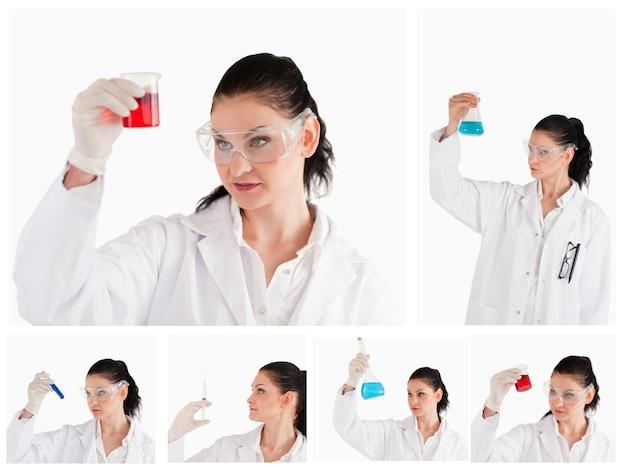 Collage de un científico femenino que mira un tubo de ensayo rojo y un vaso de precipitados