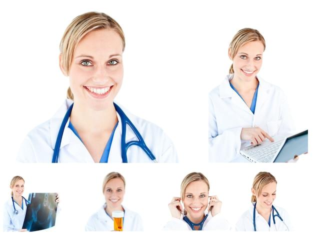 Collage de un científico femenino usando un estetoscopio