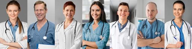 Collage de colección de personas médicas