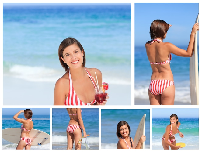 Collage de una atractiva mujer morena disfrutando el momento en una playa