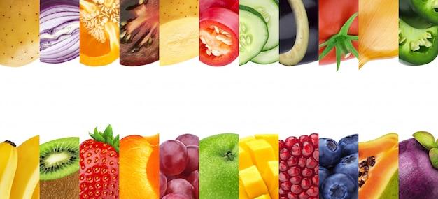Collage de diferentes frutas y verduras aisladas sobre fondo blanco.