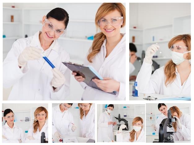 Collage de dos mujeres científicas haciendo experimentos
