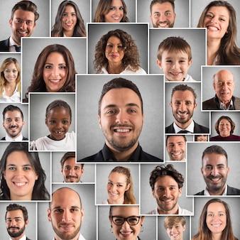 Collage de expresiones felices de hombres y mujeres