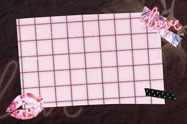 Collage de fondo de papel tapiz estético, arte de técnica mixta de collage rosa