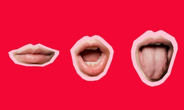Collage con formas de posición de la boca.
