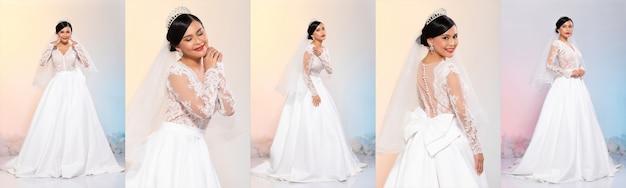 Collage group pack de longitud completa de moda joven mujer asiática cabello negro maquillaje cosmético hermoso desgaste vestido de novia blanco en poses de diferencia. iluminación de estudio fondos pastel amarillo rosa azul